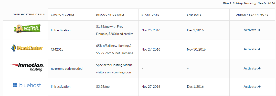 Black Friday Hosting Deals
